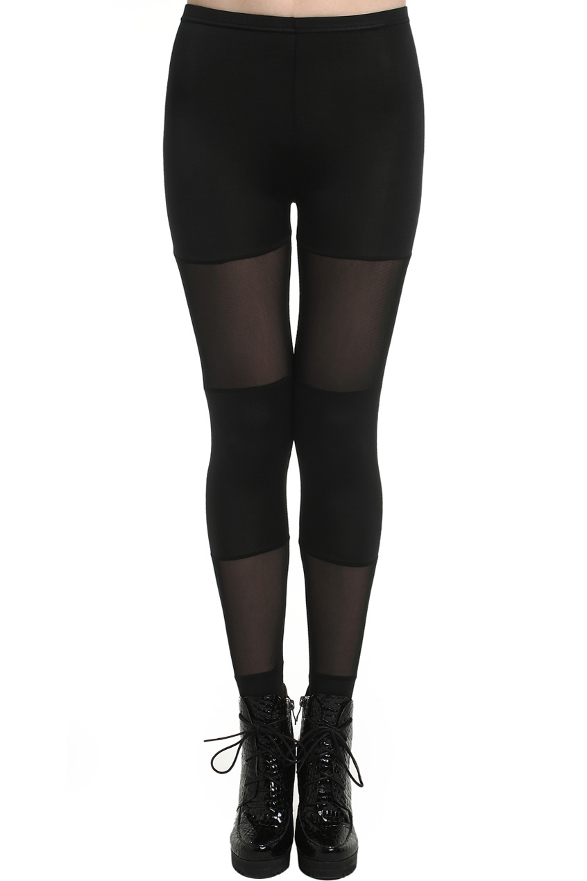 ROMWE | ROMWE Candy Colored Dual-tone Sheer Mesh Black Leggings, The Latest Street Fashion
