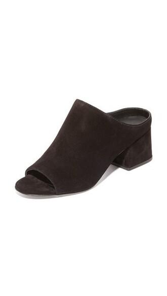 open mules black shoes