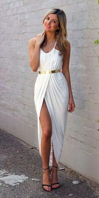 dress white dress grecian dress belt