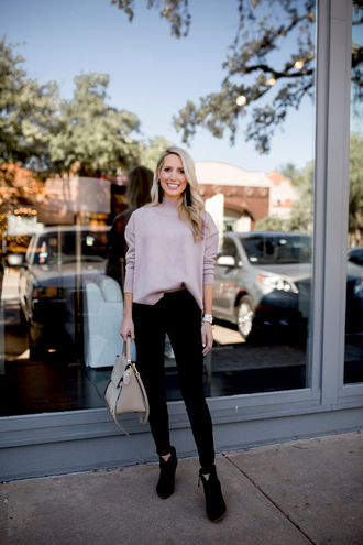 krystal schlegel blogger jewels jeans shoes fall outfits ankle boots handbag sweater black pants