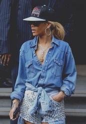 blouse,blue shirt,jeans shirt,hat,rihanna,hot,hottie,shorts,beautiful,blonde hair,earrings,shirt,matching shorts and top,denim shorts,denim shirt