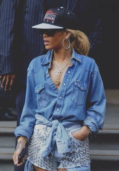 jeans shirt blouse shorts blue shirt hat rihanna hot hottie beauty blonde earrings