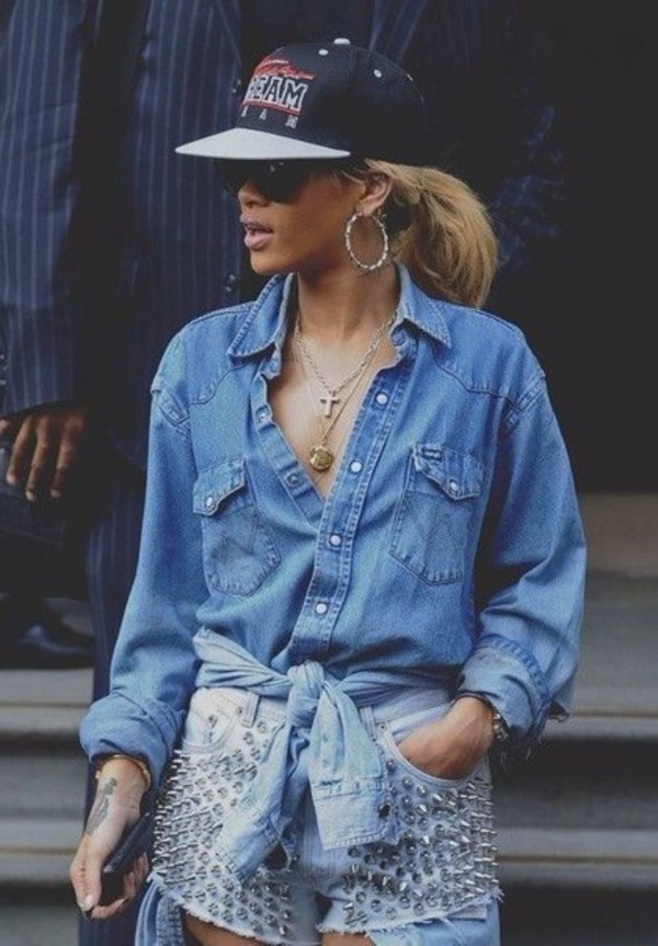 blouse blue shirt jeans shirt hat rihanna hot hottie shorts beautiful blonde hair earrings shirt matching shorts and top denim shorts denim shirt