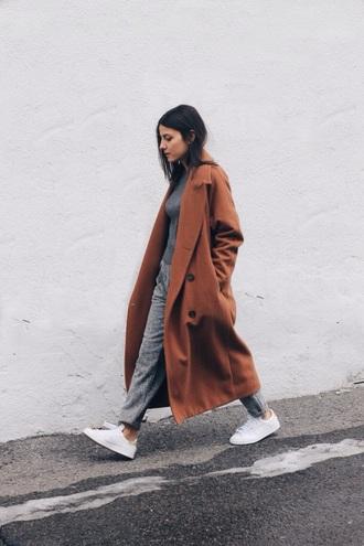 coat long wool orange