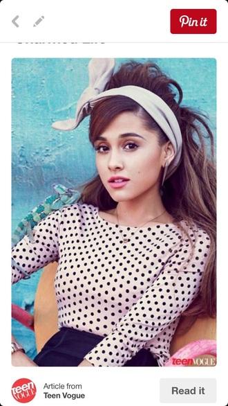 hair accessory cute ari top white black polka dot top headband cute headband cute top outfit ariana grande ariana grande outfits polka dots