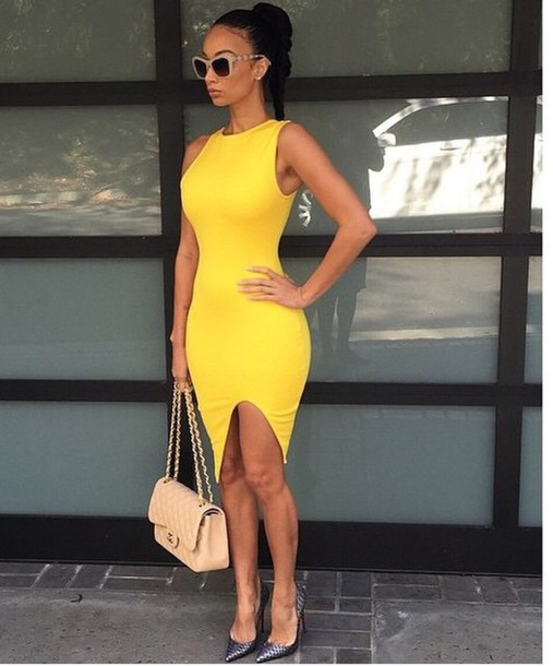 dress yellow dress slim dress bodycon dress