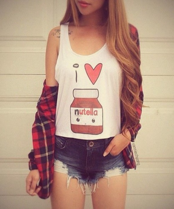 blouse t-shirt flannle truebeautyg shorts tank top heart summer outfits pattern food shirt nutella blonde hair top cute fashion fashion inspo girly plaid denim outfit graphic tee t-shirt comfy