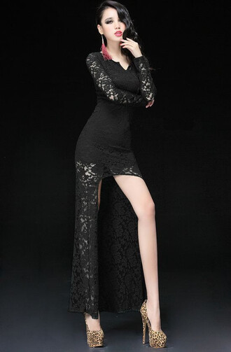 lace dress club dresses little black dress wholesale women lady v-neck dress sexy dress newest sheer evening dress party dress clubwear long sleeve dress