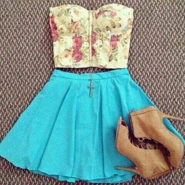 top skirt shoes jewels