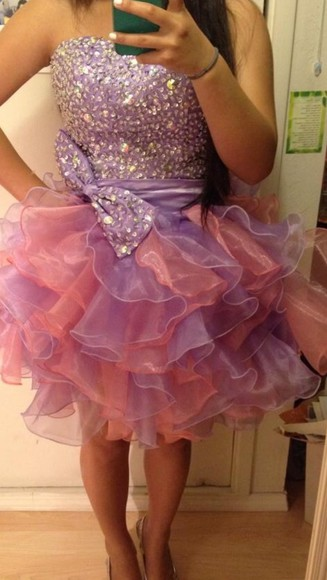 dress tulle prom dress pink dress purple dress two tone poofy dress short prom dress puffy dress