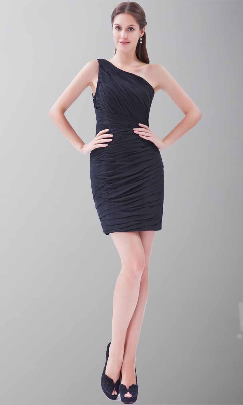 One Shoulder Pleated Shift Little Black Dress KSP245 [KSP245] - £84.00 : Cheap Prom Dresses Uk, Bridesmaid Dresses, 2014 Prom & Evening Dresses, Look for cheap elegant prom dresses 2014, cocktail gowns, or dresses for special occasions? kissprom.co.uk offers various bridesmaid dresses, evening dress, free shipping to UK etc.