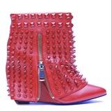 Lust for life battle wedge bootie in crimson red – flyjane