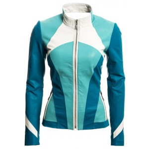 Online retro inspired multi colored women leather jacket