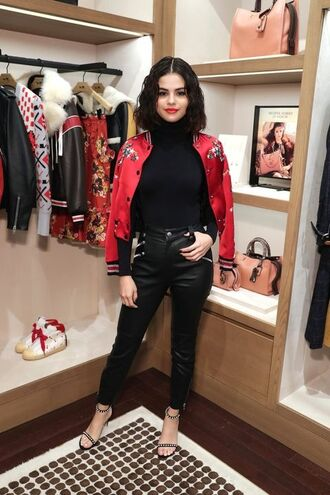 top turtleneck jacket sandals selena gomez nyfw 2017 ny fashion week 2017 bodysuit shoes