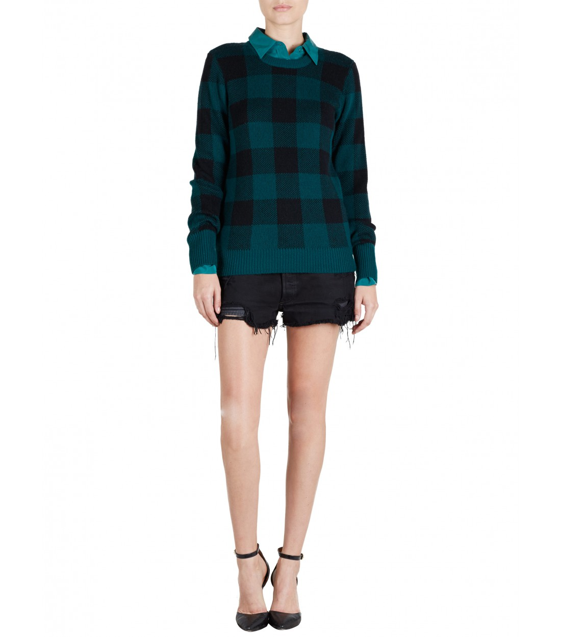 EQUIPMENT Shane Crew Pine/Black Plaid | Cashmere Sweater
