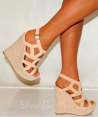 Beige Cut-Outs Wedge Heel Sandals