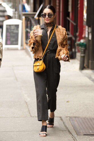 jumpsuit jacket sandals vanessa hudgens purse sunglasses shoes