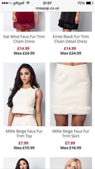 top white skirt sets fashion fur vest white crop tops style outfit