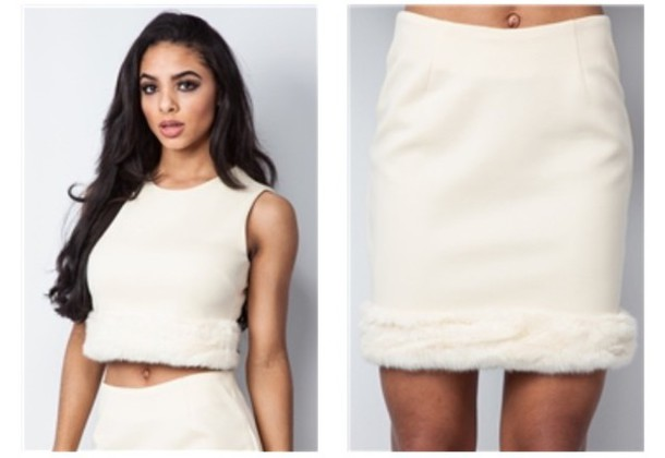 top white skirt set fashion fur vest white crop tops style outfit