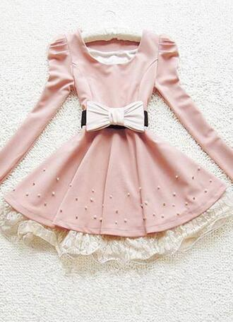 pink dress pink dress long sleeves collar bows white bow beaded
