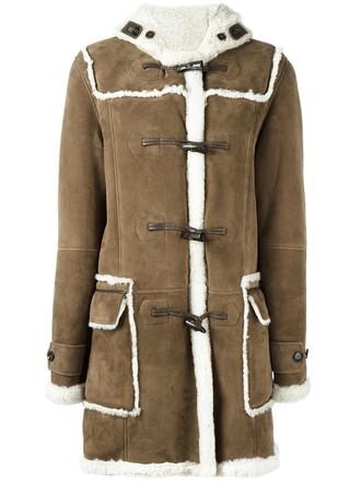 coat duffle coat fur women brown