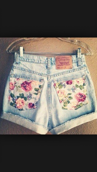 shorts light was shorts denim floral cuffed shorts rolled up shorts cute high-wasted denim shorts jeans
