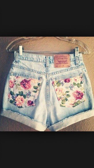 floral cute shorts denim light was shorts cuffed shorts rolled up shorts high-wasted denim shorts
