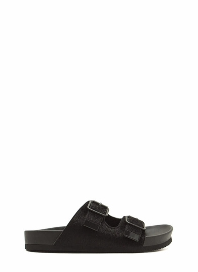 What-The-Buckle-Faux-Fur-Slide-Sandals BLACK - GoJane.com