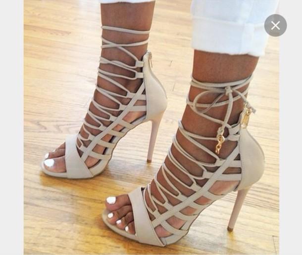 32d9b0f400171 shoes, lace up heels, beige, tie up heels - Wheretoget