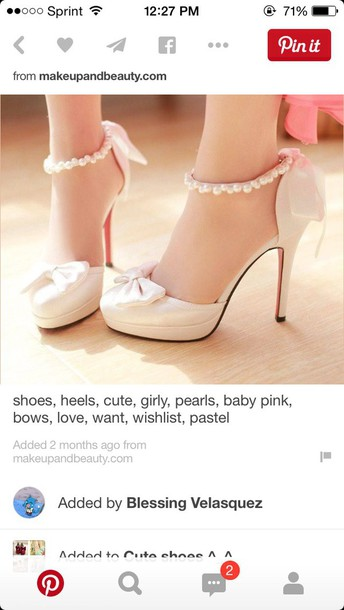 shoes shoes heels cute girl pearls bows pastel wishlist