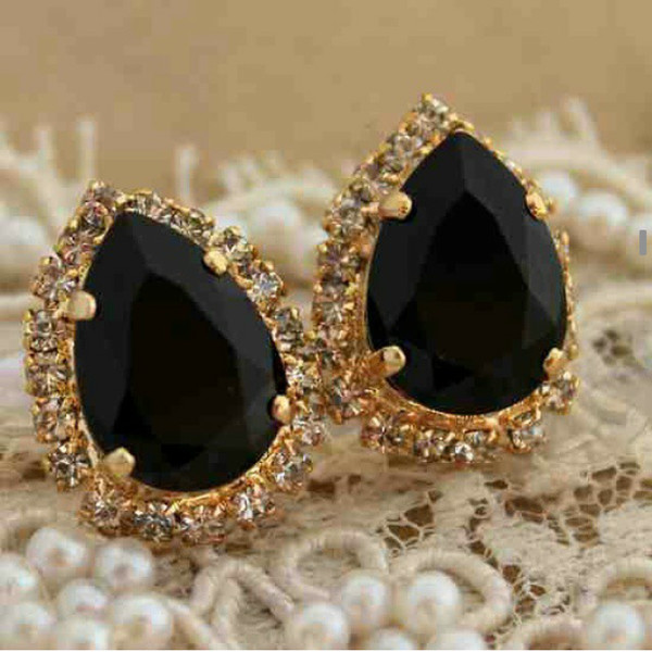 jewels earrings gold black elegant