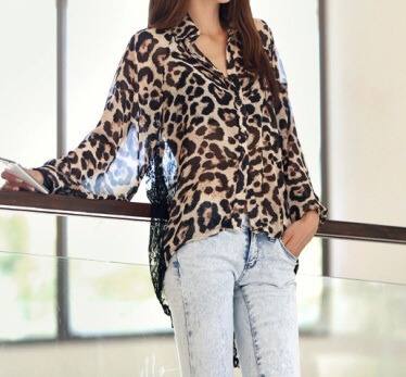 Back leopard button down blouse/top from doublelw on storenvy