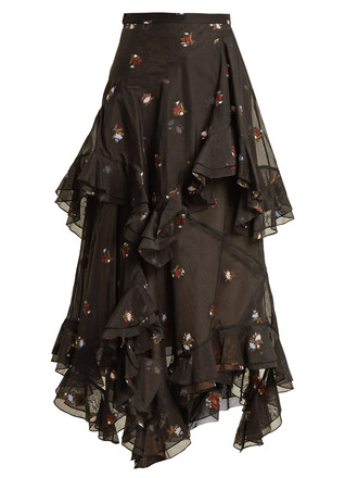 skirt embroidered floral cotton black