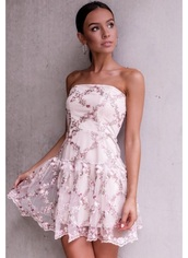dress,floral,embroidered,pink,strapless,overlay,lace
