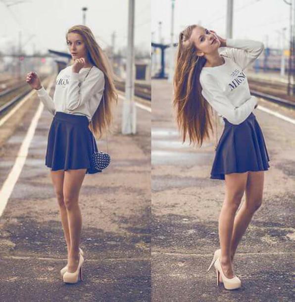 skirt black skirt skater skirt flowy
