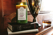 home accessory,circle 21 candle co,candle,clear,green,scented,trophy room scent,women,bikiniluxe