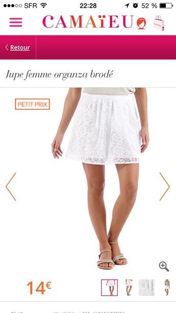 skirt white camaieu