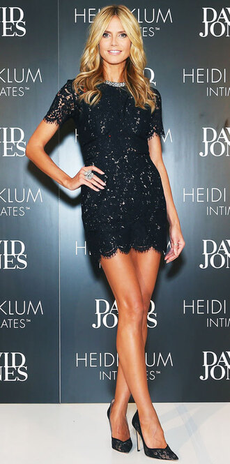 short dress mini dress little black dress black lace dress heidi klum dress