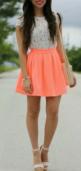 skirt pleated skirt skater skirt pink skirt bright skirt summer skirt summer skirts shoes