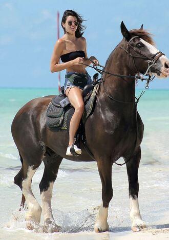 swimwear bandeau kendall jenner summer shorts sunglasses beach