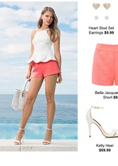 top,peplum,string,shorts,strappy heels