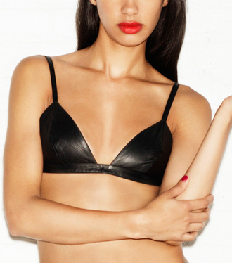 underwear leather black leather bra