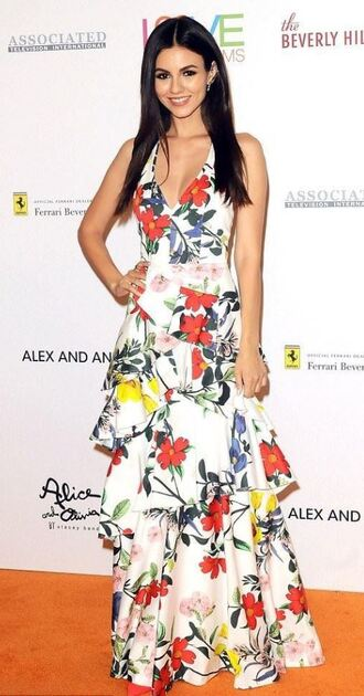 dress floral floral dress maxi dress victoria justice red carpet dress ruffle ruffle dress gown