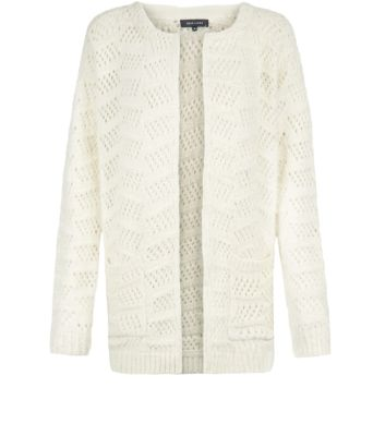 Cream Pointelle Knit Fluffy Open Front Cardigan