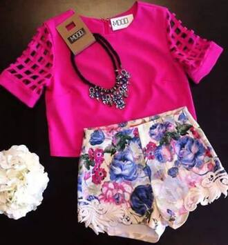 shorts floral peach purple light pink lace pattern high waisted shorts shirt