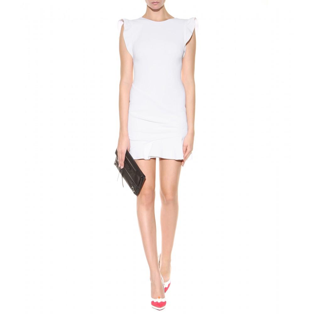 mytheresa.com - Ruffled stretch wool-crepe mini dress - Short - Dresses - Clothing - Luxury Fashion for Women / Designer clothing, shoes, bags
