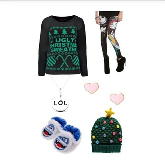 hat sweater ugly christmas sweater leggings nightmare before christmas beenies beenie necklace earing earrings slippers