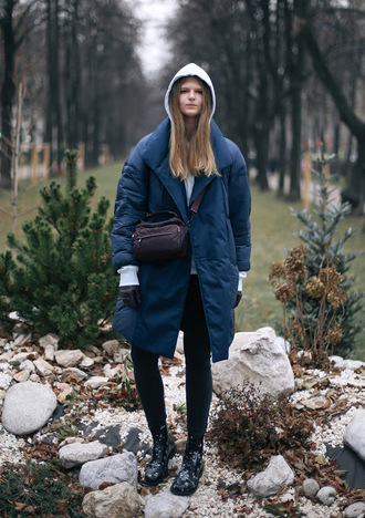 white rabbit dreams blogger coat sweater jeans bag shoes winter outfits blue coat hoodie boots