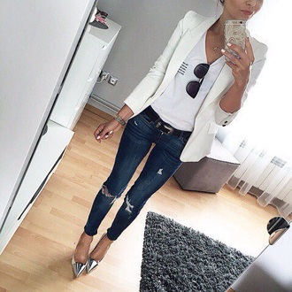 jeans ripped white blazer t-shirt sunglasses outfit silver tip heels