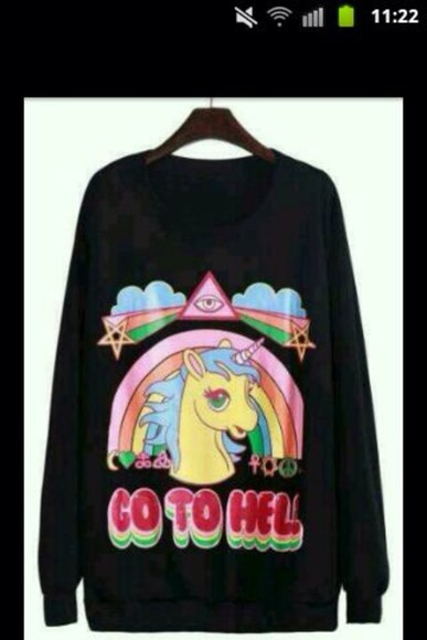 unicorn sweater go to hell